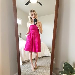 Anthropologie strapless hot pink dress